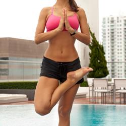 women demonstrating yoga pose