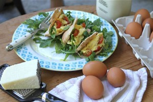 Scrambled egg and pecorino pita pocket recipe by Haylie Duff