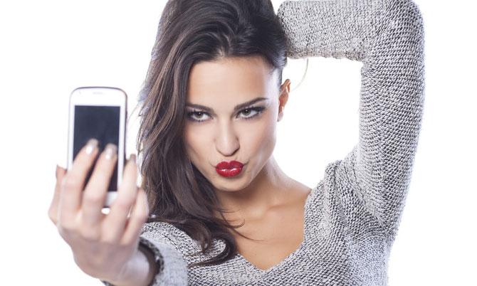 woman takes a selfie