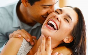 Couple laughs and talks easing their stress