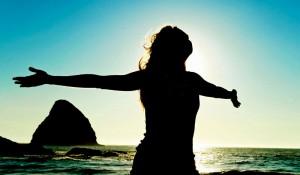 Woman celebrates healthy lifestyle