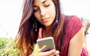 Girl on social media on her phone